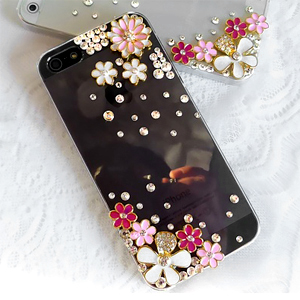 iPhone5S 甜美小碎花 清新貼鑽手機殼 Enya恩雅(捷克水晶鑽)(郵寄免運)