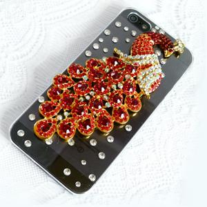 iPhone5S 美麗彩孔雀 清新貼鑽手機殼 Enya恩雅(捷克水晶鑽)(郵寄免運)