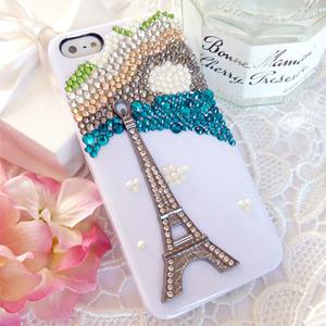 iPhone5S 印象巴黎河畔 清新貼鑽手機殼 Enya恩雅(捷克水晶鑽)(郵寄免運)