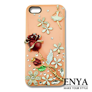 iPhone5S 少女與玫瑰 清新貼鑽手機殼 Enya恩雅(捷克水晶鑽)(郵寄免運)