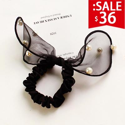 ❤原價72五折36❤兔耳朵蕾絲珍珠髮圈   軟耳朵鑲嵌珍珠好質感【SM702HT】