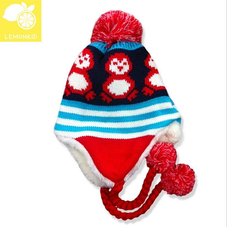 Lemonkid◆冬季可愛小企鵝編織繩毛球保暖兒童冬帽護耳帽-深紫