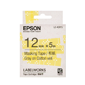 【OKIN】EPSON LC-4CA15 C53S625034標籤帶(禾紙12mm)黃底/白花灰字 標籤機