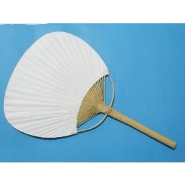 竹柄扇子.空白扇子.彩繪紙扇子.環保扇子(竹桿雙面紙/圓形)/一支{35}