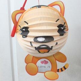 老虎燈籠 虎年燈籠 Q版十二生肖造型紙燈籠(老虎造型/附電池)/一個入{促99}