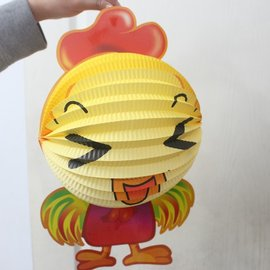 雞燈籠 雞年燈籠 Q版十二生肖造型紙燈籠(雞造型/附電池)/一個入{促99}
