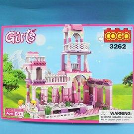 COGO積木 3262 童話公主系列-王子的約會公主城堡 益智積木 約245片/一盒入{促500}~可與樂高混拼裝