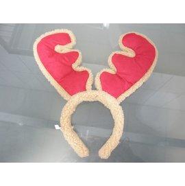 聖誕鹿角 聖誕飾品髮箍 聖誕鹿角髮夾 麋鹿角 聖誕頭圈(紅色.棉布包仿羊毛邊)/一個入{促80}