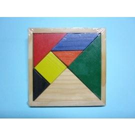 七巧板 木質七巧板 七巧板遊戲 七巧板圖形 七巧板圖案 木製七巧板拼圖(方形)/一個入{定30}