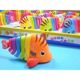 發條七彩魚 上鏈發條迷你七彩魚 Q版會跑七彩魚玩具(真環保.不必用電池喔)/一個入{促60}