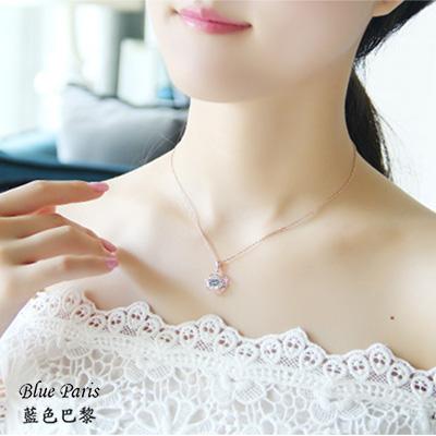 韓國時尚花朵鑽石玫瑰金項鍊【21522】-現貨商品藍色巴黎【防過敏】