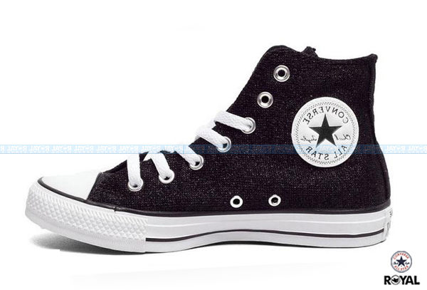 CONVERSE 新竹皇家 CHUCK TAYLOR ALL STAR MATERIAL 黑色 棉絲布 高筒 女款 NO.I5825