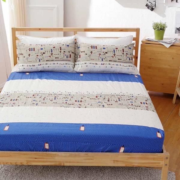 [SN]#B147#寬幅100%天然極緻純棉5x6.2尺雙人床包+枕套三件組*台灣製/SGS檢驗/床單/床巾