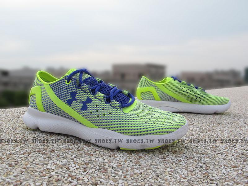 下殺7折 Shoestw【1268339-731】UNDER ARMOUR Speedform 慢跑鞋 螢光綠 紫點點 女款
