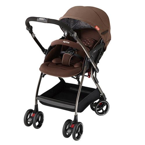 【悅兒樂婦幼用品舘】Aprica 愛普力卡 四輪自動定位導向型嬰幼兒手推車 Optia新視野-典藏棕