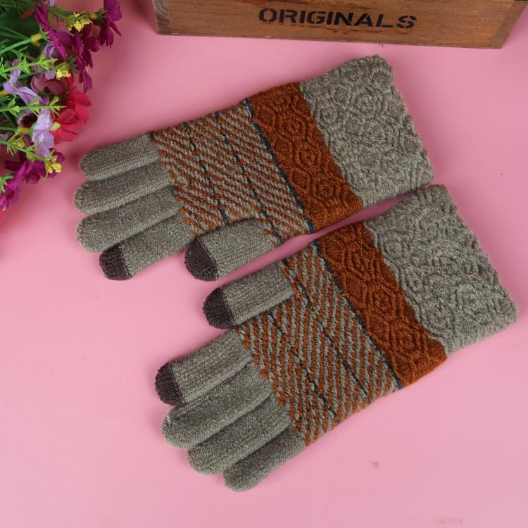 男士緹花加厚保暖觸控手套《隨機出貨不挑色》