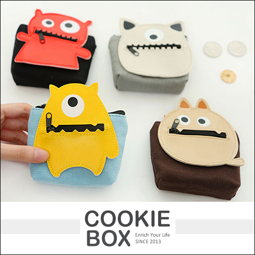 小怪獸 零錢包 錢包 收納 帆布 可愛 送禮 零錢 小物 *餅乾盒子*