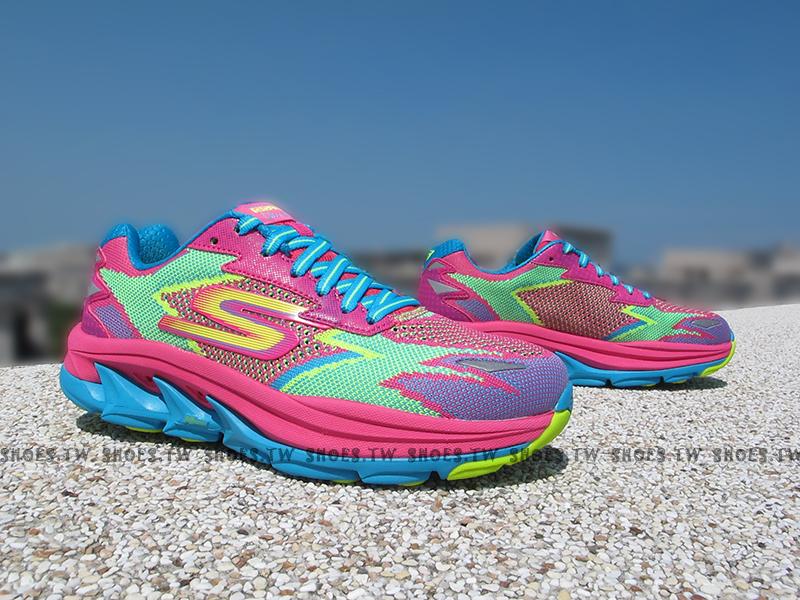 [23cm] Shoestw【14005HPTQ】SKECHERS 慢跑鞋 GoRun Ultra R 越野慢跑 桃綠藍 慢跑神器