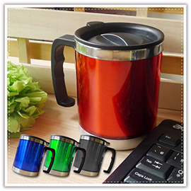 【aife life】彩色不鏽鋼杯-450cc/冷熱皆宜/廣告杯/飲料杯/咖啡杯/保溫杯/有蓋不鏽鋼杯/可印字贈品禮品