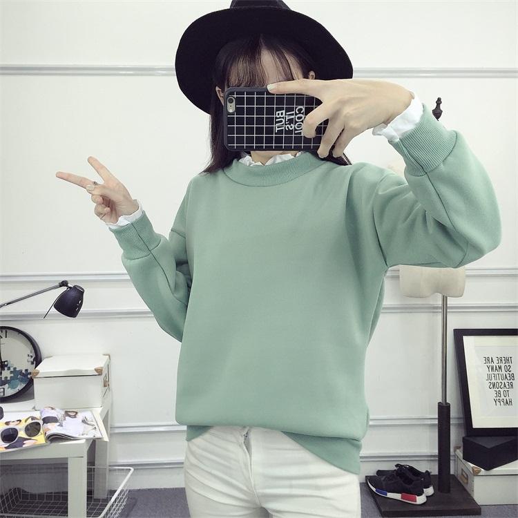 PS Mall 大尺碼寬鬆套頭加絨衛衣簡約假兩件外套T恤【T4318】