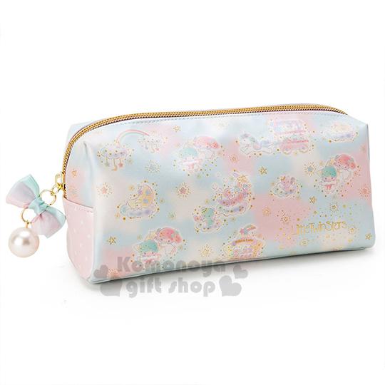 〔小禮堂〕雙子星 皮革拉鍊筆袋《大.藍.彩虹.星星.雲》可當化妝包使用