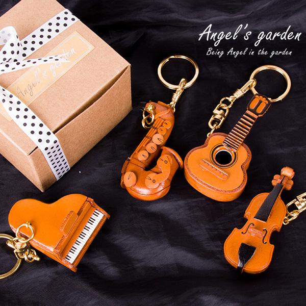 【安佐革物】樂器 日本手做牛皮吊飾 立體 鑰匙圈 鋼琴 小提琴 吉他