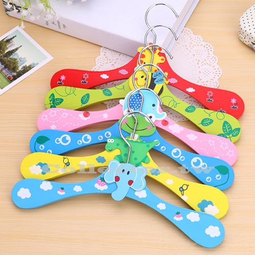 【Q16010801】韓版木質糖果色卡通動物款兒童衣架 寶寶衣櫃專用衣服曬衣架