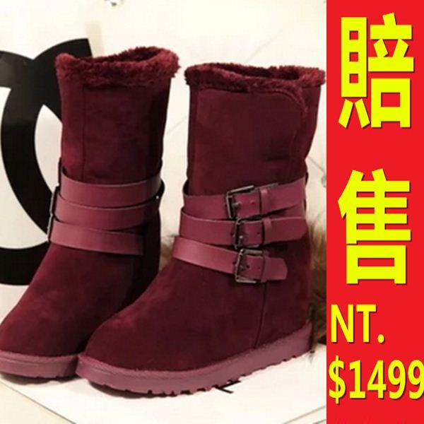 雪靴 女中筒靴子-真皮絨面羊毛內裡鑲鑽鉚釘內增高女鞋子6色64r1【韓國進口】【米蘭精品】