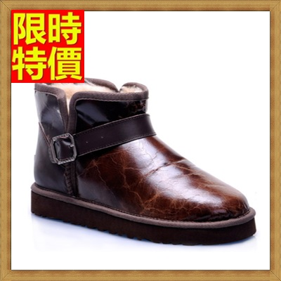 雪靴 男休閒鞋-圓頭裂紋皮羊毛內裡防滑短筒真皮男靴子64s17【澳洲進口】【米蘭精品】