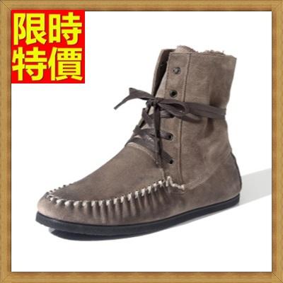 雪靴 男休閒鞋-反絨皮羊毛內裡防滑短筒真皮男靴子2色64s4【澳洲進口】【米蘭精品】