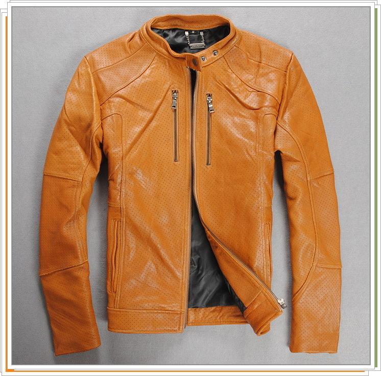 真皮皮衣 男外套-羊皮立領修身時尚男機車夾克9b121【義大利進口】【米蘭精品】