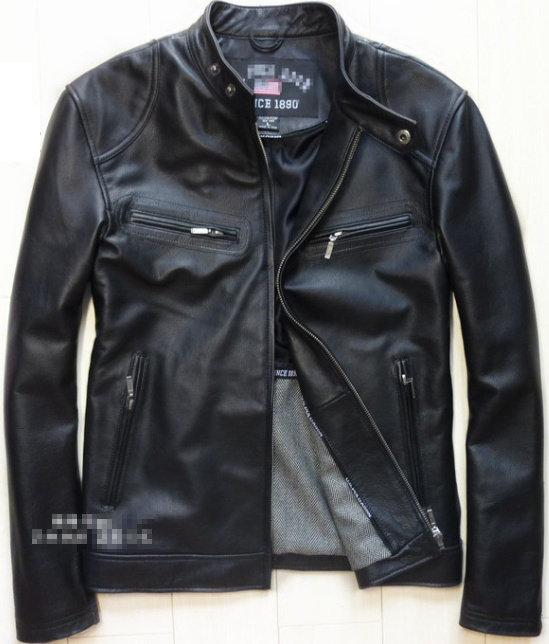 真皮皮衣 男外套-時尚流行修身立領男機車夾克aa63【義大利進口】【米蘭精品】