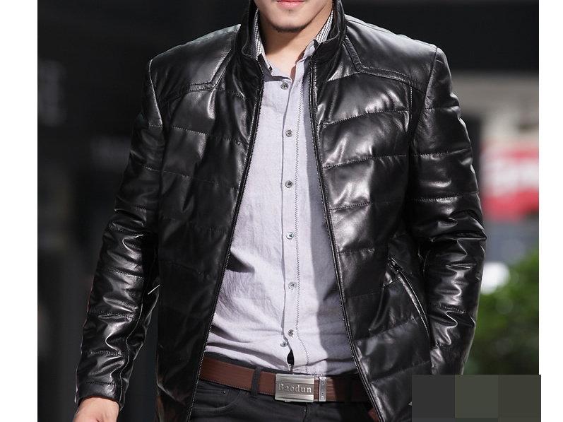 真皮皮衣 羽絨外套-立領修身時尚做舊男機車夾克lm34【義大利進口】【米蘭精品】