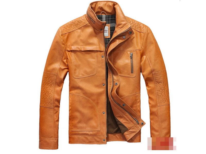 真皮皮衣 男外套-立領修身時尚做舊男機車夾克lm92【義大利進口】【米蘭精品】
