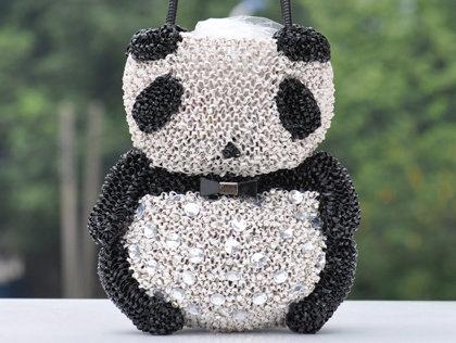 手提包 肩背包-水鑽可愛熊貓女包包aa30【韓國進口】【米蘭精品】