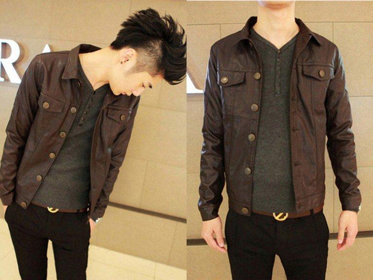 皮衣外套 男夾克-襯衫領帥氣修身男短版大衣2色cm115【韓國進口】【米蘭精品】