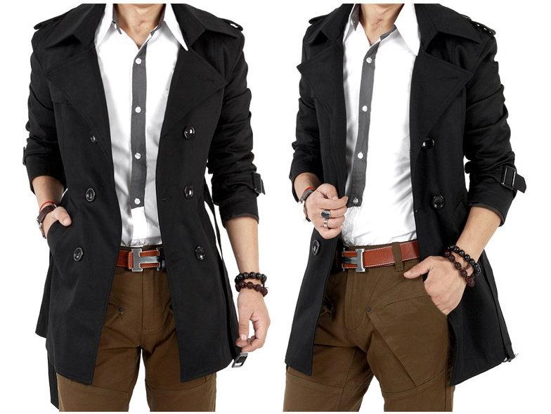風衣外套 男大衣-秋冬保暖修身長版男外套2色cm171【韓國進口】【米蘭精品】