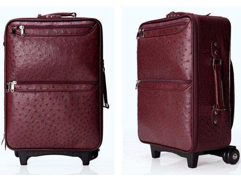 行李箱 真皮鴕鳥皮旅行箱-高貴經典出國度假旅行登機箱L119【俄羅斯進口】【米蘭精品】