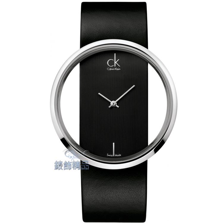 【錶飾精品】CK錶 CK手錶 鏤空玻璃錶盤 直紋黑色真皮女錶 K9423107 全新原廠正品 情人生日禮物