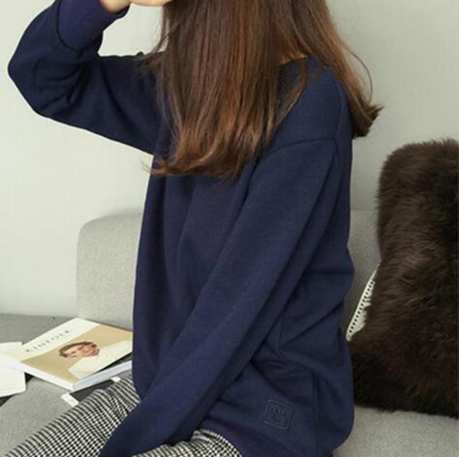 50%OFF【G017908C】秋季新款寬鬆圓領內裡抓絨刺繡長袖套頭衛衣休閒