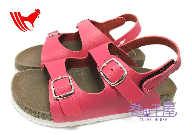 【巷子屋】ROOSTER公雞 童款經典勃肯雙釦涼鞋 [2351] 桃 MIT台灣製造 超值價$198