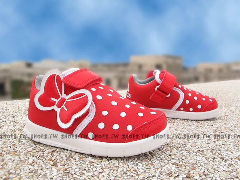 Shoestw【AF3998】ADIDAS 迪士尼系列 小童鞋 米妮 紅蝴蝶結 黏帶