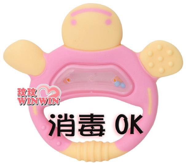 日本 - 利其爾 Richell -423288 粉紅色手指形狀固齒器(附收納盒)耐熱120度~蒸煮消毒OK