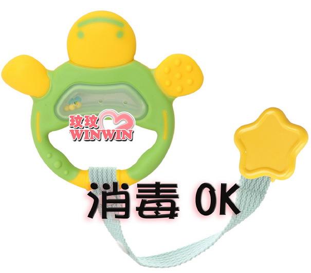 日本 - 利其爾 Richell - 503416翠綠色手指形狀固齒器 ( 附固定夾) 耐熱120度 ~ 可煮沸消毒
