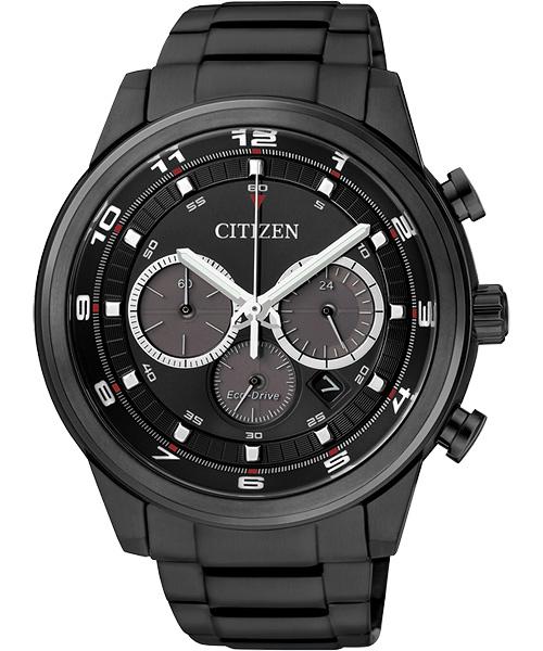 CITIZEN星辰CA4035-57E炫黑率性深邃光動能計時碼表/黑面44mm