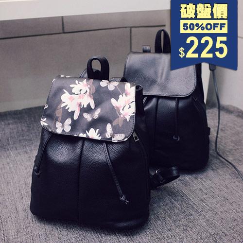 後背包-荔枝紋繩帶束口蝶戀花彩繪後背包 包飾衣院 P1660 現貨+預購
