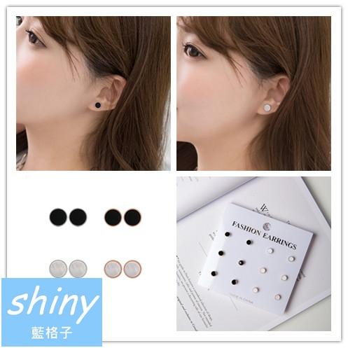【DJA3318】shiny藍格子-簡約黑白系耳釘套裝六對一組