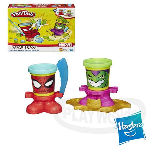 【Playwoods】[培樂多黏土PLAYDOH]漫威英雄黏土罐遊戲組:蜘蛛人與綠惡魔(內含2罐人物造型黏土&造型底座/孩之寶Hasbro/Mavel)