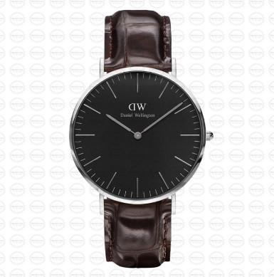 40MM 0134DW 黑錶面 深棕鱷魚錶帶 瑞典正品代購 Daniel Wellington 男錶手錶腕錶