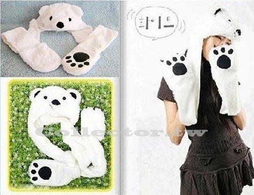 【M13100905】韓國 白熊帽子圍巾手套 Super Junior最愛 保暖圍巾手套